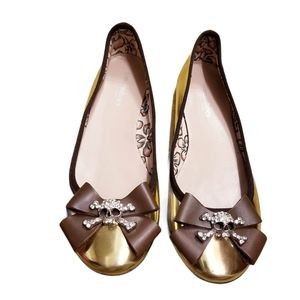 Townshoes Skull Bow Embellished Gold Flats